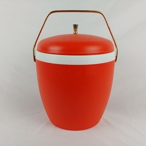 Vtg Orange Ice Bucket Plastic